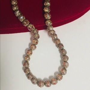 VTG Pink Crystal Bead Necklace